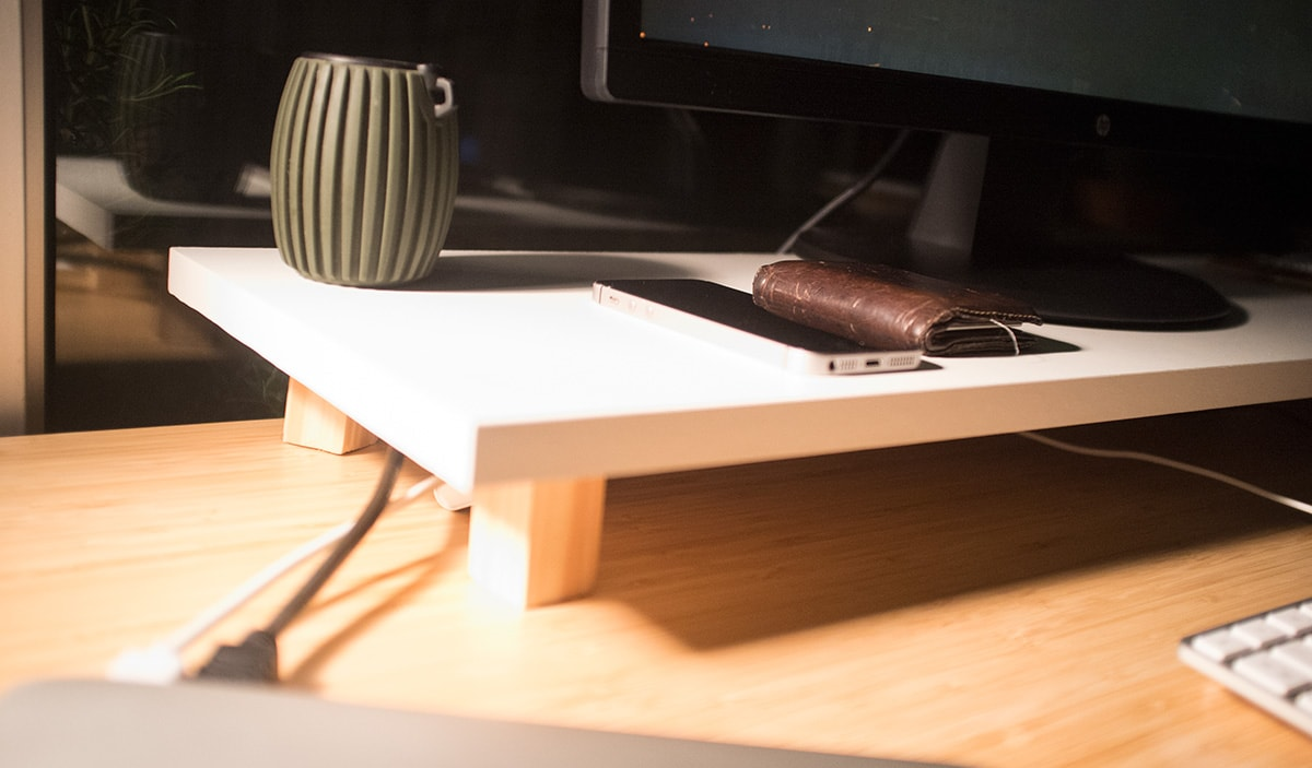 Home desk with a custom monitor stand